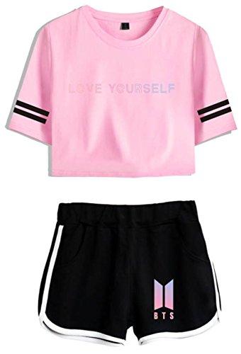 SERAPHY Bangtan Boys Crop Top Bekleidungsset T-Shirts und Shorts Anzug für Mädchen und Frauen 4044 Rosa-Schwarz M