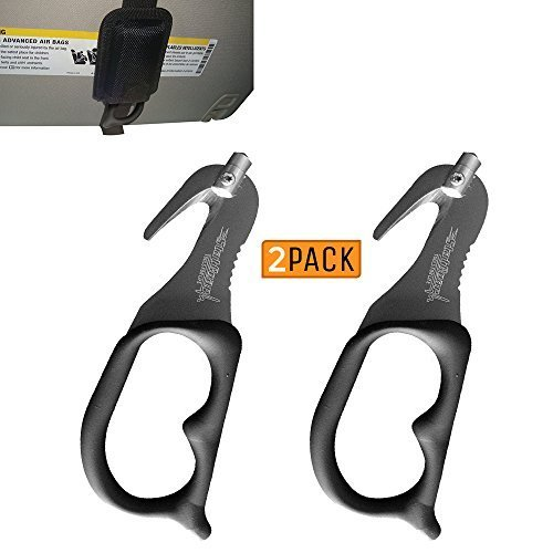 StatGear SuperVizor XT Auto Emergency Rescue Escape Tool - Seatbelt Cutter & Window Glass Breaker Hammer Survival - Mounts Right to Your Sun-Visor! Pack of 2