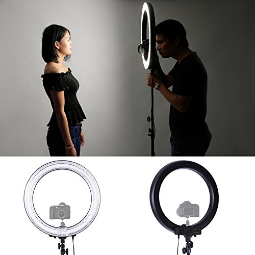 Neewer Fluorescent Ring Light Kit: 18-inch Outer 14-inch Inner 600W 5500K Dimmable Ring Light with 75-inch Light Stand for Portrait Photography, Make up and Video Shooting