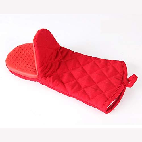 QYLOZ Ofenhandschuhe Lange, silikonisolierte Handschuhe Hochtemperaturbeständig dick Verbrühungsschutz Hitzebeständigkeit des Mikrowellenofens 230 Grad