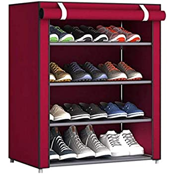 PARASNATH Mild Steel Red Cloth 4-5 Shelves Shoe Rack/Shoe Stand Made in India(Limited Time Offer)