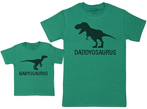 Babyosaurus with Daddyosaurus - Regalo para Padres y bebés en un Camiseta para bebés y una Camiseta de Hombre a Juego - Verde - L & 6-12 Meses