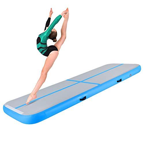 Y-NOT Aufblasbare 400 x 100 x 20 cm Tumbling Matten Gymnastikmatte Turnmatte Bodenmatte Inflatable Yogamatte Trainingsmatte Taekwondo Yoga (Blau, 400 x 100 x 20 cm)