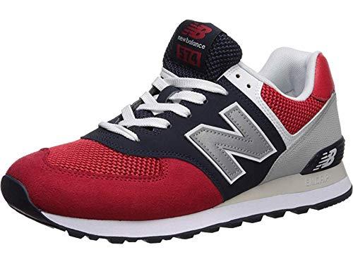 New Balance Men's 574 V2 Pebbled Sport Sneaker, Team Red/Pigment, 8.5 M US