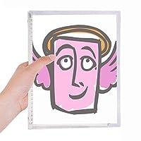 天使の抽象的な顔スケッチ絵文字 硬質プラスチックルーズリーフノートノート
