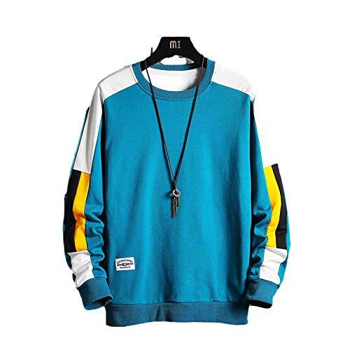 Zestion Jersey de Cuello Redondo para Hombre, Patchwork, Costura, Bloqueo de Color, Ajuste Holgado, cómodo, Informal, versátil, Sudadera, Tops 3X-Large