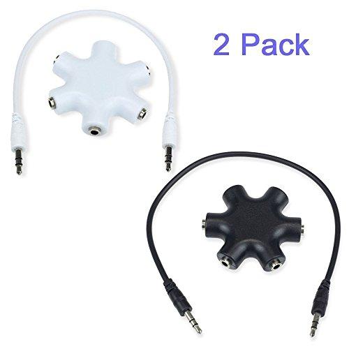 Aussel Paquet de 2 3,5 mm Extension écouteur Splitter adaptateur audio 1 mâle à 2 3 4 5 Femme Câble audio