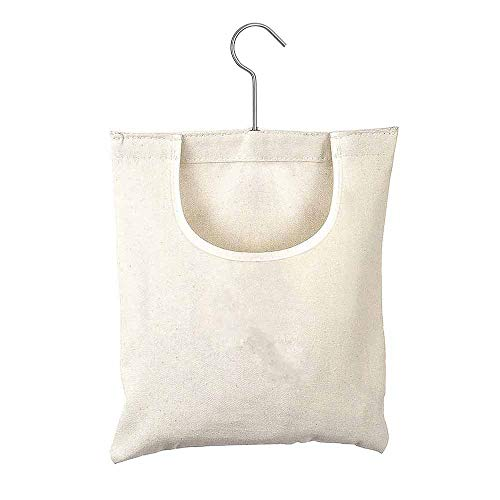 Miouldram Canvas Clothespin Bag,Hanging Storage Hooks Washable Clothespin Bag Hanging Organizer for Bedroom Bathroom Hold 200 Clothespins
