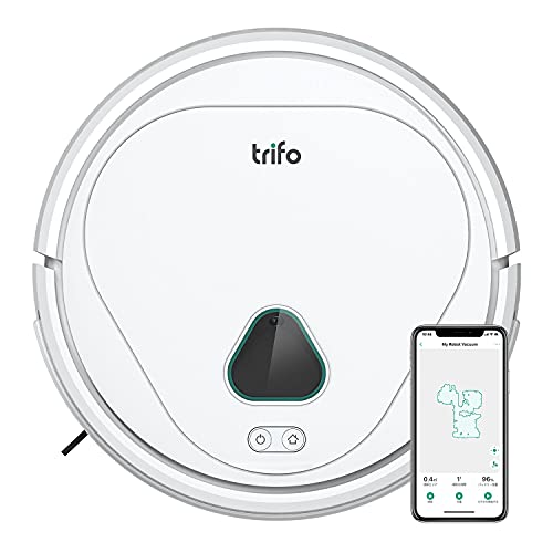 Trifo Max Robot Vacuum Cleaner,with 3000Pa Strong Suction,120-minute Runtime,Self-Charging, Washable Filter and dustbin, Perfect for Pet Hair, Home Security Camera, Carpet, Wood, Video Recording white