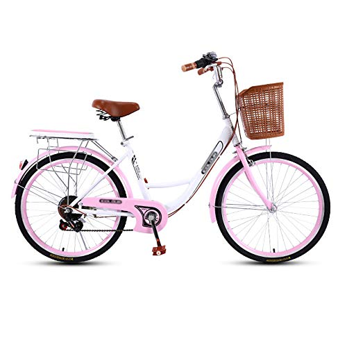 Bicicleta, Bicicleta de Viaje de Moda de 7 Velocidades, Bicicleta de Ocio de 26 Pulgadas, Asiento Ajustable, Marco de Acero con Alto Contenido de Carbono, para Adultos/Adolescentes/D /