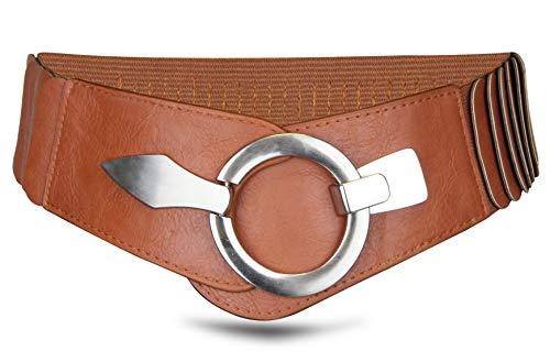 Ceinture de taille de 6 cm de large ceinture de hanche avec boucle d'anneau argenté, ceinture étirée
