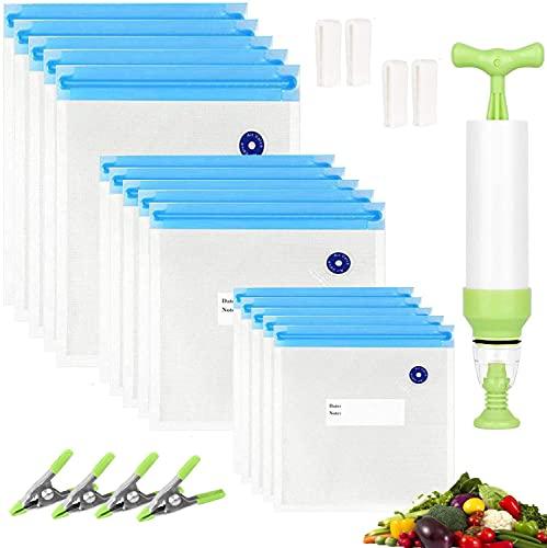 Sous Vide Beutel Set, Micacorn 15 Wiederverwendbare Lebensmittel Vakuum Versiegelt Taschen mit Handpumpe, 4 Beutel Sealing Clips, 4 Sous Vide Clips, für Lebensmittel Lagerung und Kochen, BPA-Frei