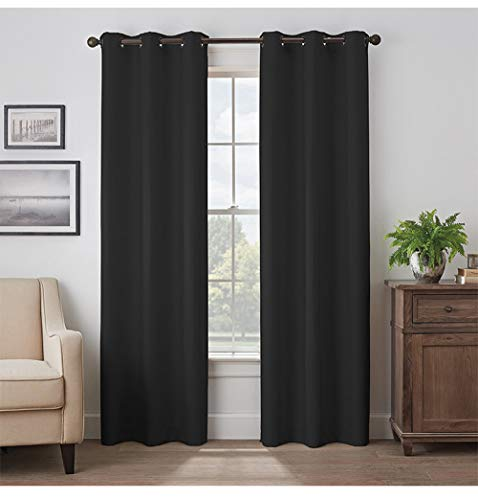 Black Blackout Curtains/42 x 63 Inch/Grommet Thermal Insulated Room Darkening Bedroom and Living Room Curtain, Set of 2 Panels