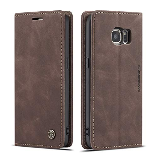 QLTYPRI Case for Samsung Galaxy S7 Edge, Vintage PU Leather Wallet Case Card Slot Kickstand Magnetic Closure Shockproof Flip Folio Case Cover for Samsung Galaxy S7 Edge - Coffee Brown