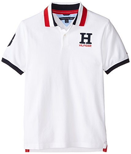 Tommy Hilfiger Boys' Big Stretch Ivy Polo, White1, X-Large (20)