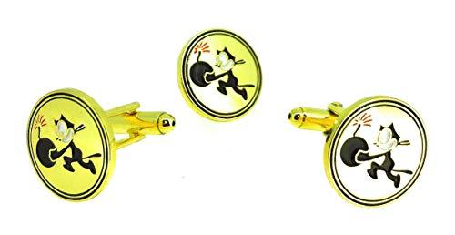 Gemelolandia     Pack Completo de Pin y Gemelos Para Camisa de Strike Fighter Squadron 31 Felix the Cat Gemelos Originales Para Camisas   Para Hombres y Niños