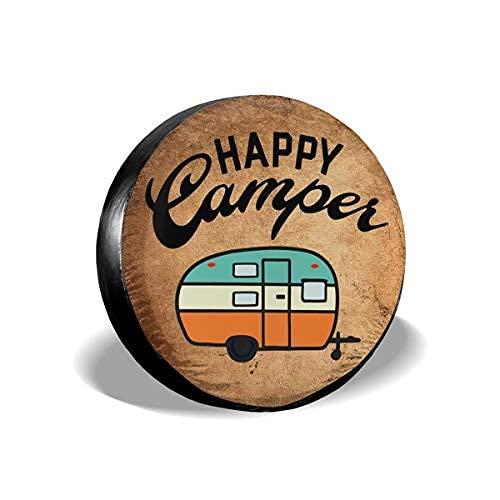 Happy Camper - Cubierta de repuesto para neumáticos a prueba de polvo, UV, para remolques, RV, SUV y muchos vehículos de 40,6 cm