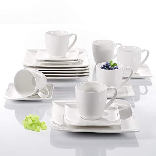 Vancasso Kaffeeservice, Kaffeeset Yolanda Tasseservice, Tafelservice aus weißen Porzellan, 18 TLG. Kaffeeset, Beinhaltet Kaffeetassen, Untertassen und Desesrtteller für 6 Personen