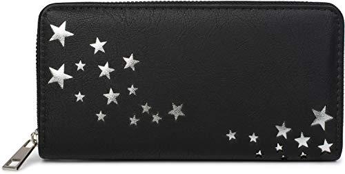 styleBREAKER Damen Portemonnaie mit Metallic Stern Cut-Outs, Reißverschluss, Geldbörse 02040115, Farbe:Schwarz