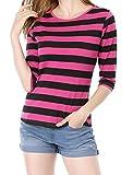 Allegra K Women's Elbow Sleeves Round Neck Tops Slim Fit Casual Striped Tees Medium Fuchsia Black