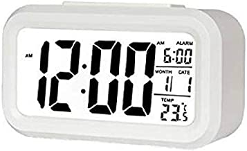 Inside Collection™ Digital Smart Backlight Battery Operated Alarm Table Clock with Automatic Sensor, Date & Temperature (White)