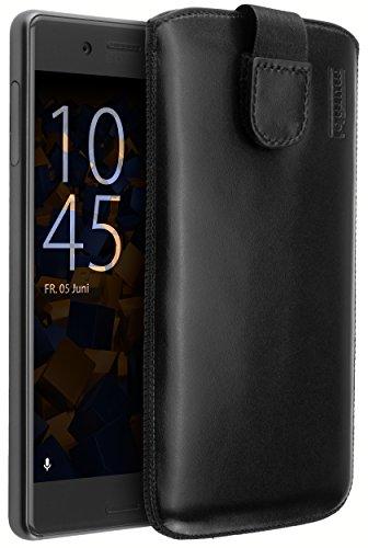 mumbi Echt Ledertasche kompatibel mit Sony Xperia X Performance Hülle Leder Tasche Hülle Wallet, schwarz