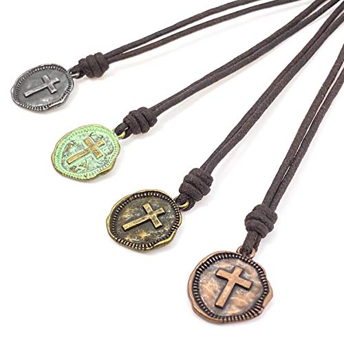 Cross Leather necklace Mens, Cross Necklace, Coin Necklace Religious Pendant Medallion Necklace Christmas Gift, Boyfriend Gift for Husband