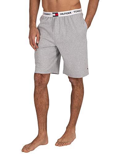Tommy Hilfiger de los Hombres Pantalones Cortos de Logo Pijama, Gris, L