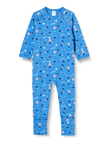 Sanetta Baby-Jungen Blue Overall Blau mit abenteuerlichem Alloverprint für große Träume Kleiner Weltentdecker, 098