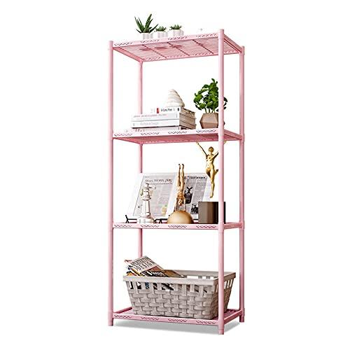 4-stegs bokhylla, vardagsrumsbokhylla, modern bokhylla med metallram för sovrum, vardagsrum och hemmakontor,Pink