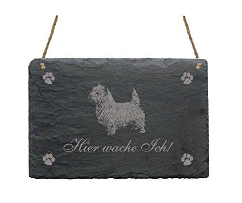 Leistenen bord « Hier wache ich - WEST HIGHLAND WHITE TERRIER » schild met hondenmotief - deurschild decoratie - tuin terras deur huisdeur - waakhond westi Westie