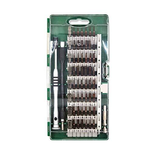 Resistente 60-en-1Screwdriver Conjunto con la extensión de Varilla y Caja de Almacenamiento de reparación Duradera Tool Kit for Computadoras Móviles Relojes Contrario (Color : Green)