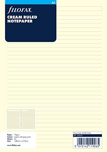Filofax - Recambio hojas archivador tamaño A5, rayas