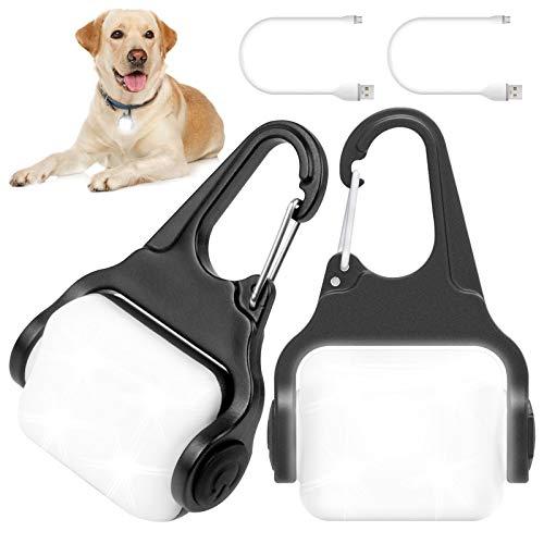 Dog Lights for Night Walking, Clip on USB Rechargeable Dog Collar Light, 3 Light Modes Dog Light, IP65 Waterproof Dog Night Light, LED Safety Light for Running, Camping, Climbing, Bike, 2 Pack