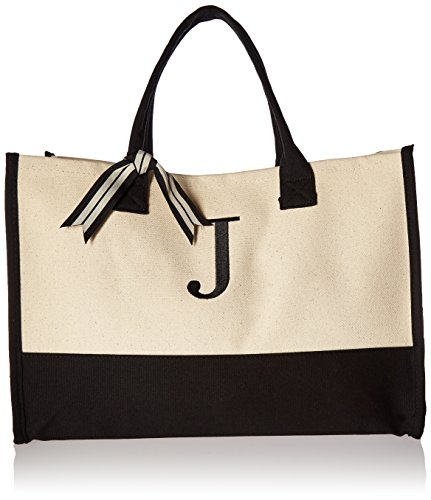 Mud Pie Initial Canvas Tote Bags (J)