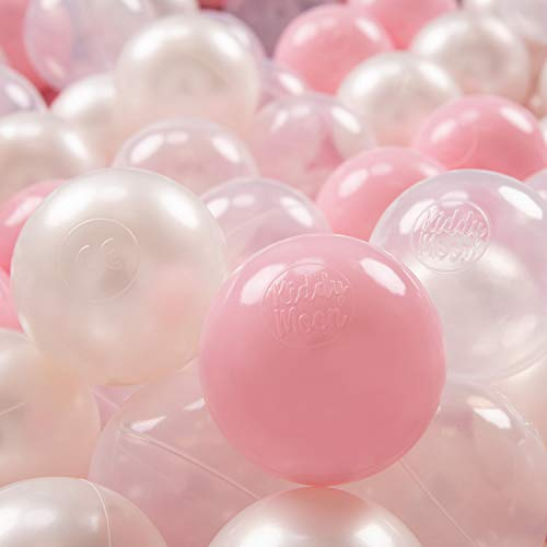 KiddyMoon 200 ∅ 7Cm Kinder Bälle Spielbälle Für Bällebad Baby Plastikbälle Made In EU, Rosa/Perle/Transparent