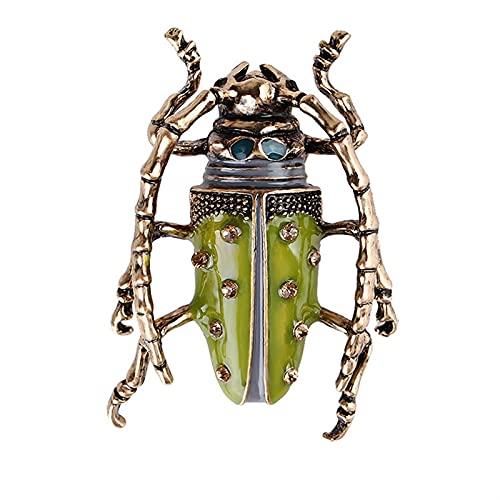 YAOLUU Broches y alfileres Aleación de Animales de Color Verde esmaltado Accesorios para Prendas de Prenda de la Mariquita Broche de Moda