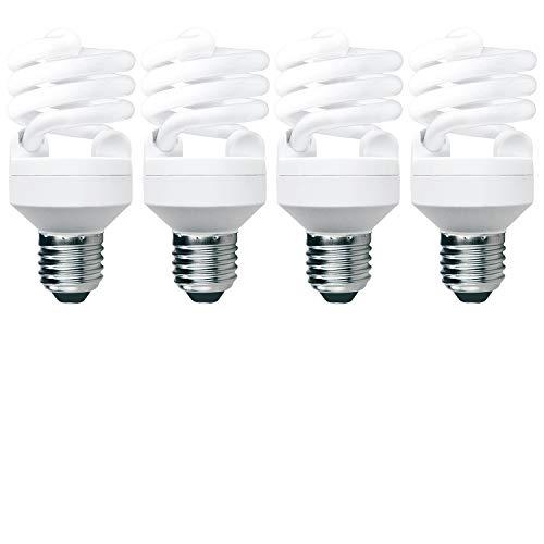 LUXRITE LR20193 (4-Pack) 20-Watt CFL T2 Mini Spiral Light Bulb, Equivalent to 75W Incandescent, Daylight 6500K, 1300 Lumens, E26 Standard Base
