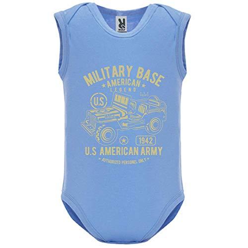 Body bébé - Manche sans - American Army Jeep - Bébé Garçon - Bleu - 6MOIS