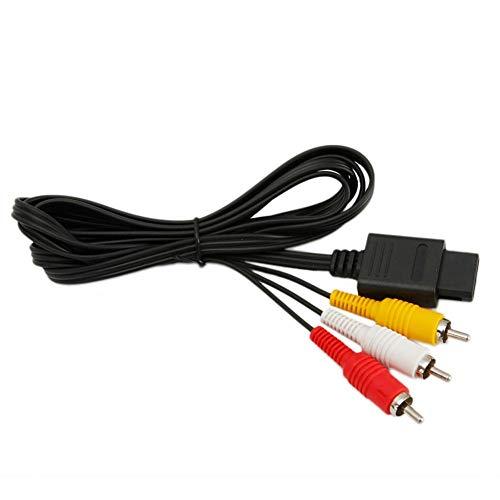 Yunn Câble de Rechange pour écran TV AV Composite 1,8 m pour Gamecube N64 Snes
