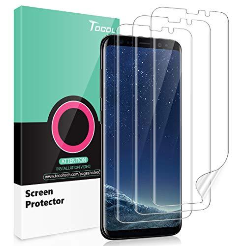 TOCOL Schutzfolie für Samsung Galaxy S8 Schutzfolie, [3 Stück] [TPU-Folie] [kein Glas] [Ausgestattet mit einem Einbaurahmen] HD Soft Panzerfolie Displayschutzfolie Display Folie Ppanzerglasfolie