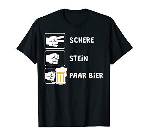Schere Stein Paar Bier Lustiges Malle JGA Bier Spruch Party T-Shirt