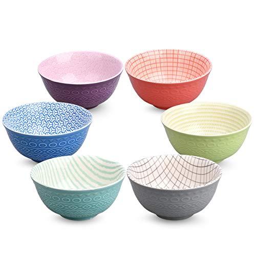 Keramikschalen für Müsli, Salat, Suppe, Ramen, Dessert, Reis, Nudeln, Nudeln, Nudeln, Set mit 6 Stück (4,8 x 2,3) klein