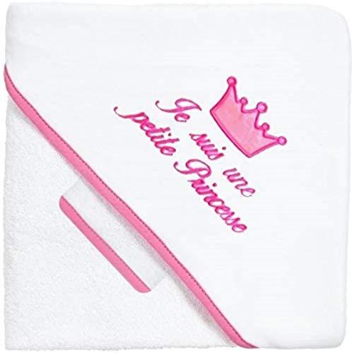 NOSBEBES ® Fabriqué en EUROPE Sortie de bain brodé, peignoir, 100% COTON idee cadeau naissance bébé Serviette à capuchon pour bébé, Serviette de Bain Bébé (BLANC ROSE PRINCESSE)