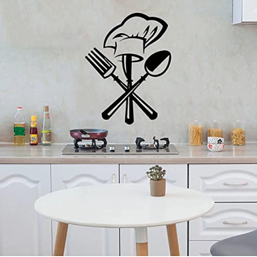 Rjjrr Cutlery Knife Fork Chef Hat Wall Sticker for Kitchen Restaurant Decoration Mural Decals Wallpaper Home Decor Stickers Kids Room