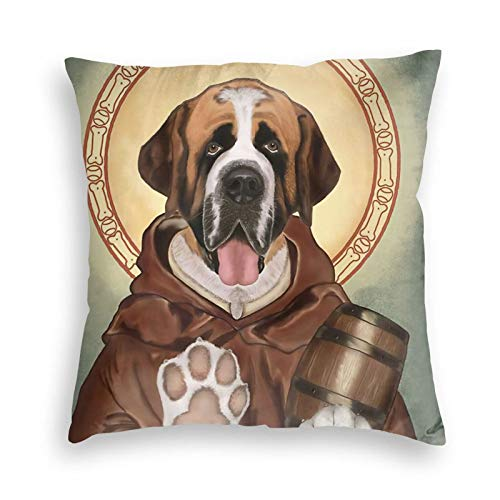 Wi Walking Pi Charm Saint Bernard Dog Funny Drum Home Premium Velvet Throw Pillow Cases Decorative Throw Pillow Covers Decorative Pillowcase Cushion Covers 18x18 20x20 24x24 26x26 Inches