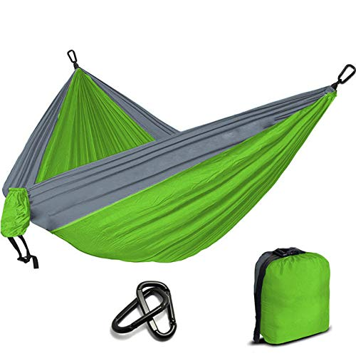 FENGSZ Portable Nylon Parachute Hammock 260X 140Cm,Rated At 330Lbs,For Outdoor,Yard, Camping,Beach And Patio,Lime Green
