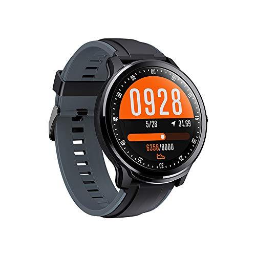 YHM Fitness Tracker, avec La Fréquence Cardiaque Sleep Monitor Step Counter Compteur De Calories IP68 Étanche HD Couleur Full Circle Écran Montre Smart Watch pour Hommes,Gris