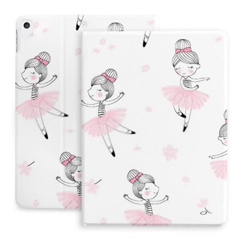 10.2 Estuche para iPad 8th Generation 2020 / iPad 7th Gen 2019, Cute Dancing Ballerina Girls Pattern Ballet con portalápices [Dormir/Despertar] Fundas Protectoras con Soporte magnético Inteligente,