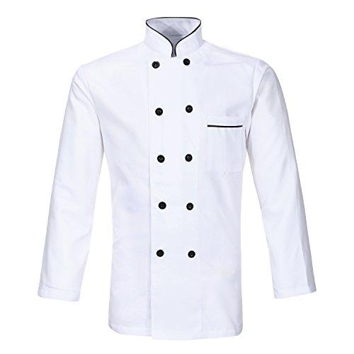 Nanxson Herren Kochjacke koch Jacke Bäckerjacke weiß Langarm Kurzarm Kochkleidung mit knöpfen CFM0001 (Weiß Langarm, M)
